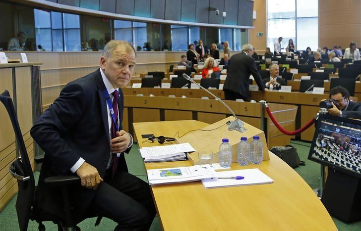 Health and Food Safety Commissioner-designate Andriukaitis of Lithuania gestures before his address to the European Parliament's Committees on Agriculture and Rural Development and Environment Public Health and Food Safety in Brussels