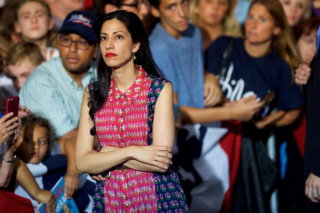 "Long time Hillary Clinton staff member Huma Abedin, pictured on August 15, 2016, announced in the midst of the campaign that she is separating from husband Anthony Weiner following new revelations that he ""sexted"" another woman (AFP Photo/Mark Makela)"