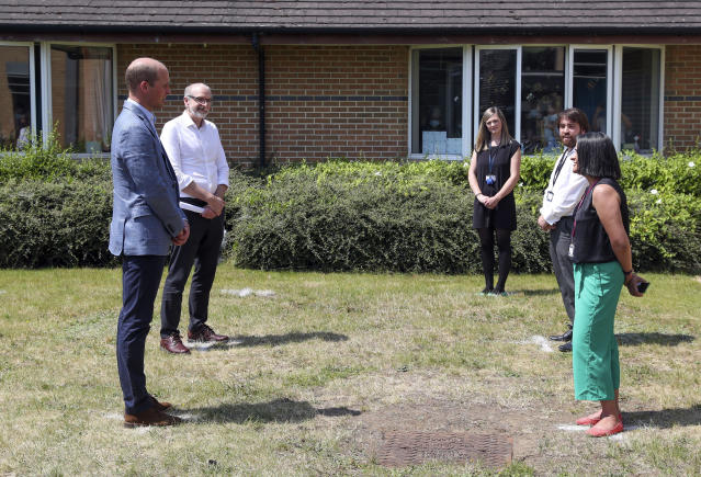 The duke carried out socially distanced chats outside too. (PA Images)
