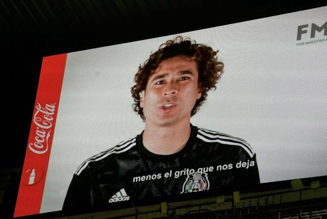 Mexican goalkeeper Guillermo Ochoa speaks out against homophobic chants in a message screened at the Azteca Stadium in Mexico City on October 15, 2019 (AFP Photo/ALFREDO ESTRELLA)