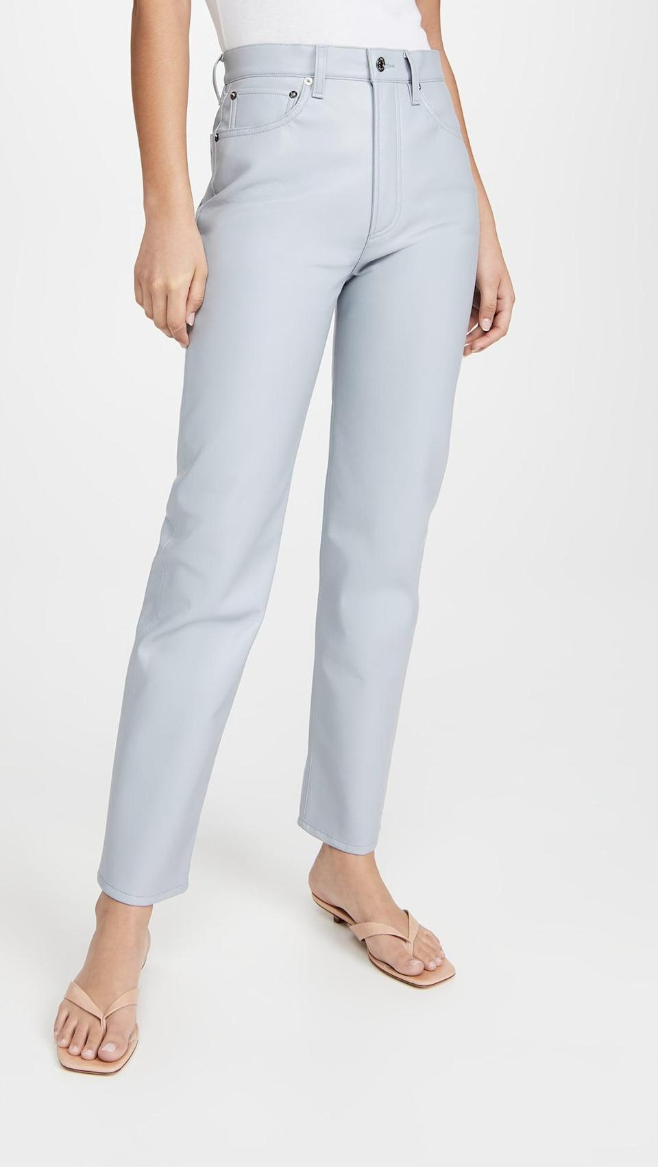 """<p>""""These <span>AGOLDE Recycled Leather 90s Pinch Waist Pants</span> ($298) are light blue leather pants. Truly, need I say more?"""" - IY</p>"""