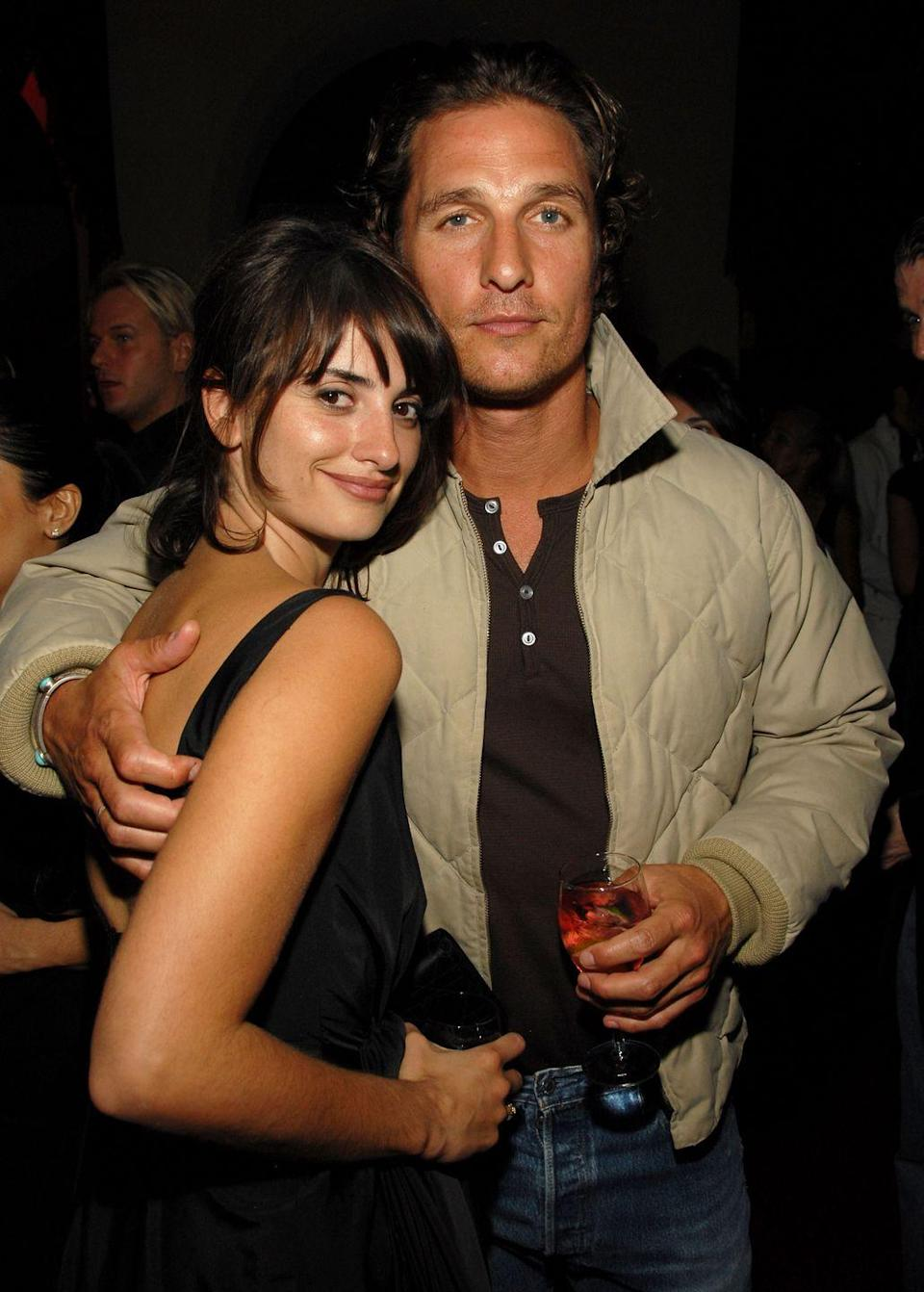 """<p>Penélope Cruz and Matthew McConaughey were not nearly as famous as they are now when they started dating in 2005. The pair got together while filming Sahara in Morocco. The relationship was short-lived because Penélope and Matthew <a href=""""https://people.com/celebrity/matthew-mcconaughey-penelope-cruz-are-separating/"""" rel=""""nofollow noopener"""" target=""""_blank"""" data-ylk=""""slk:broke up in June 2006"""" class=""""link rapid-noclick-resp"""">broke up in June 2006</a>.</p>"""
