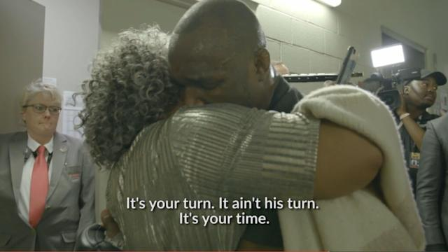 Deborah Woodley (L) had some wise words for Kamaru Usman following his one-sided victory over her son at UFC 235. (Screenshot via UFC.tv)