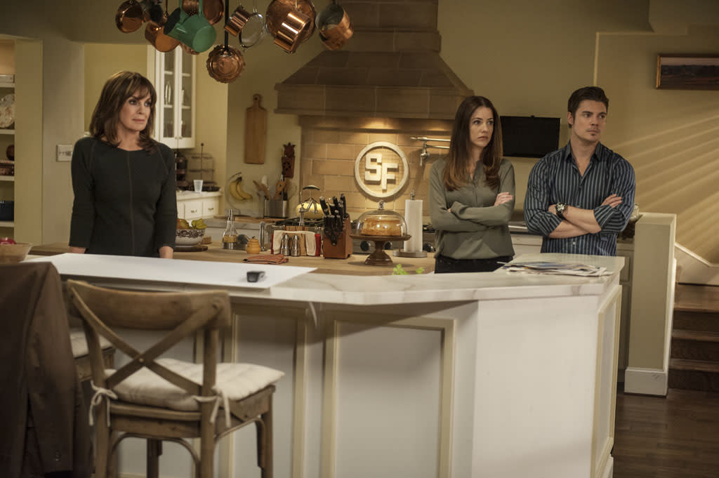 "Linda Gray, Julie Gonzalo and Josh Henderson in the ""Dallas"" Season 2 episode, ""Legacies."""