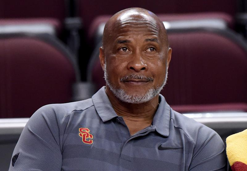 USC Trojans athletic director Lynn Swann is shown during an NCAA basketball game. (Getty)