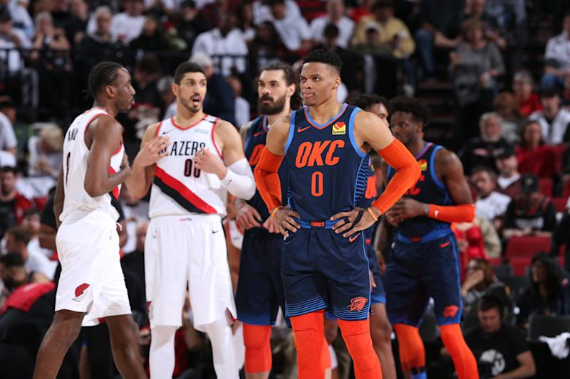 PORTLAND, OR - APRIL 23: Russell Westbrook #0 of the Oklahoma City Thunder looks on during Game Five of Round One of the 2019 NBA Playoffs against the Oklahoma City Thunder on April 23, 2019 at the Moda Center in Portland, Oregon. NOTE TO USER: User expressly acknowledges and agrees that, by downloading and or using this Photograph, user is consenting to the terms and conditions of the Getty Images License Agreement. Mandatory Copyright Notice: Copyright 2019 NBAE (Photo by Sam Forencich/NBAE via Getty Images)
