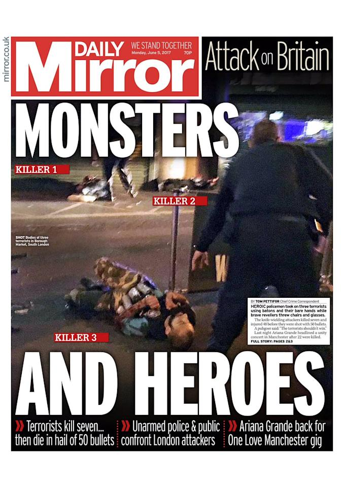 <p>The Daily Mirror's front page showed the 'monsters and heroes' involved in the attack </p>
