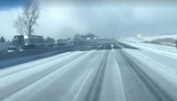 Conditions were treacherous on Highway 400 earlier on Monday.