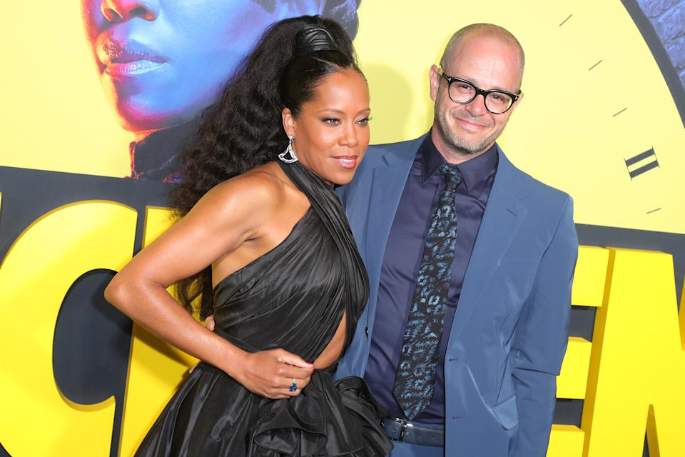 """LOS ANGELES, CALIFORNIA - OCTOBER 14: (L-R) Regina King, Damon Lindelof attend Premiere Of HBO's """"Watchmen"""" at The Cinerama Dome on October 14, 2019 in Los Angeles, California. (Photo by Leon Bennett/WireImage)"""