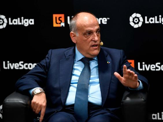 Javier Tebas speaking at a conference in Madrid last year (Getty)