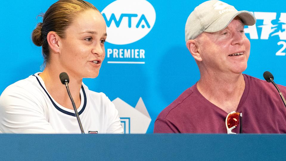 Ash Barty and coach Craig Tyzzer, pictured here in Adelaide in January.