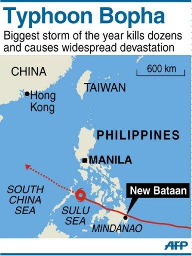 <p>Map of Philippines locating the path of Typhoon Bopha across Mindanao and the devastated village of New Bataan.</p>