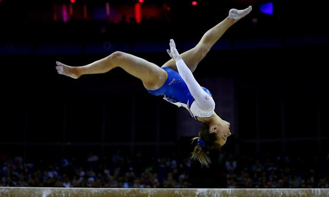 "<span class=""element-image__caption"">Amy Tinkler of Great Britain on the beam during the women's competition for the World Cup of Gymnastics.</span> <span class=""element-image__credit"">Photograph: Dan Istitene/Getty Images</span>"