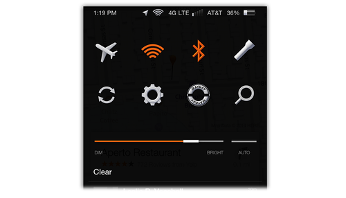 Fire phone settings panel