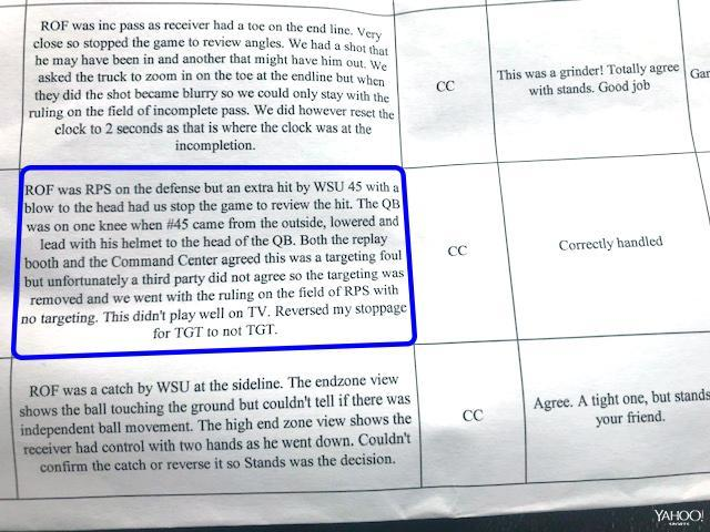 The highlighted section of the referee's USC-WSU game report shows the play in question. (Special to Yahoo Sports)