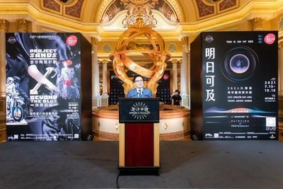 Dr. Wilfred Wong, president of Sands China Ltd., speaks at The Venetian Macao Thursday for the opening ceremony of Project Sands X: Beyond the Blue – An Exhibition of Ceramic Extraordinaire. A special exhibition of Art Macao: Macao International Art Biennale 2021, Beyond the Blue is open to the public 10 a.m.-10 p.m. daily July 15-Oct. 31.