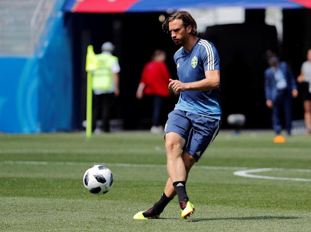 Soccer Football - World Cup - Sweden Training - Nizhny Novgorod Stadium, Nizhny Novgorod, Russia - June 17, 2018 Sweden's Gustav Svensson during training REUTERS/Carlos Barria