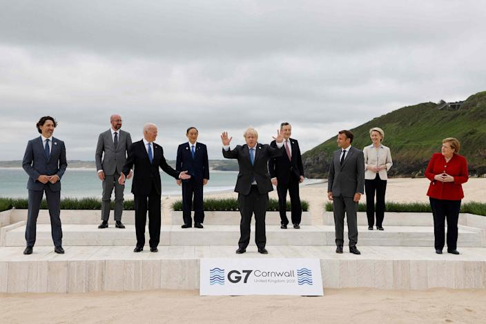 Image: G7 leaders from Canada, France, Germany, Italy, Japan, the UK and the United States meet this weekend for the first time in nearly two years, for three-day talks in Carbis Bay, Cornwall. (Ludovic Marin / AFP - Getty Images)
