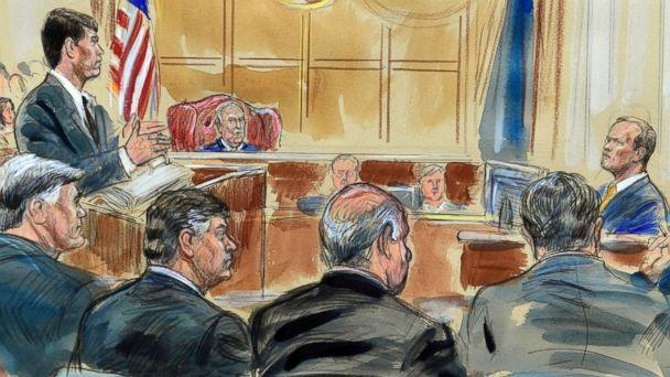 PHOTO: This courtroom sketch depicts Rick Gates, right, answering questions by prosecutor Greg Andres as he testifies in the trial of Paul Manafort, seated second from left, at the Alexandria Federal Courthouse in Alexandria, Va., Aug. 6, 2018. (Dana Verkouteren via AP)