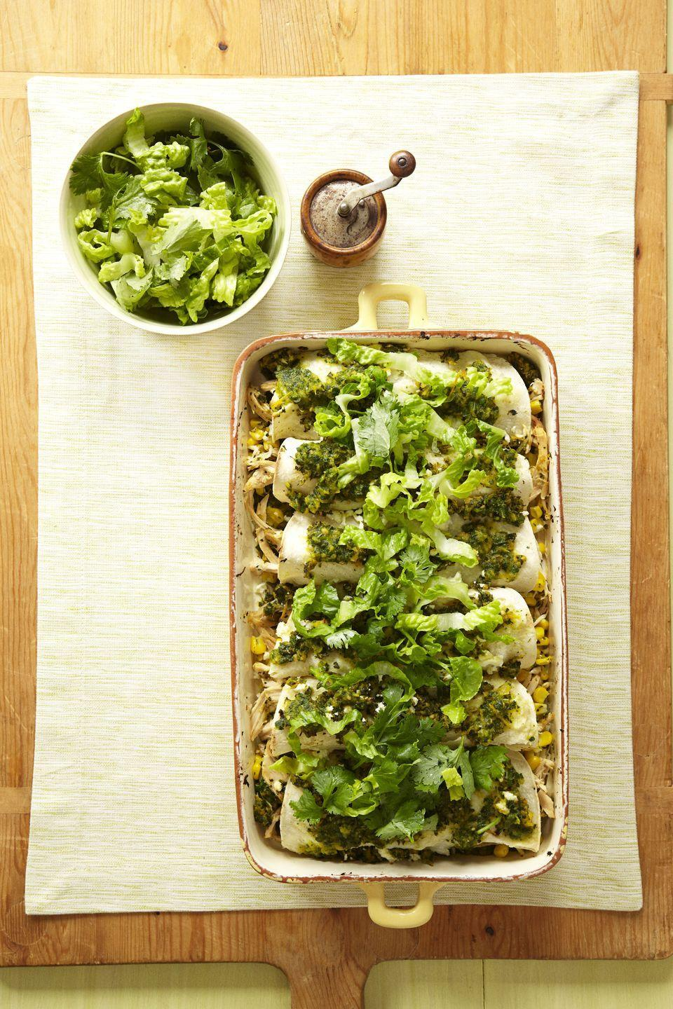 """<p>Think eating healthy means giving up the family favorites? Stop. With a few small changes (like subbing in reduced-fat cheese and adding extra veggies), these enchiladas will become the kids' MVP. </p><p><a href=""""https://www.goodhousekeeping.com/food-recipes/a14314/chicken-corn-enchiladas-recipe-ghk0912/"""" rel=""""nofollow noopener"""" target=""""_blank"""" data-ylk=""""slk:Get the recipe for Chicken and Corn Enchiladas »"""" class=""""link rapid-noclick-resp""""><em>Get the recipe for Chicken and Corn Enchiladas »</em></a> </p>"""