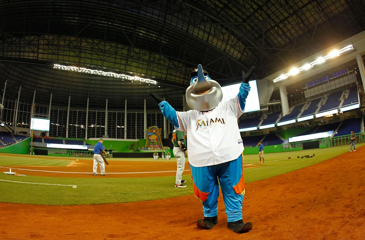 MIAMI, FL - MARCH 06:  Billy the Marlin shows off a general view of the new Marlins Ballpark during a game between the Miami Marlins and the University of Miami Hurricanes at Marlins Park on March 6, 2012 in Miami, Florida.  (Photo by Mike Ehrmann/Getty Images)
