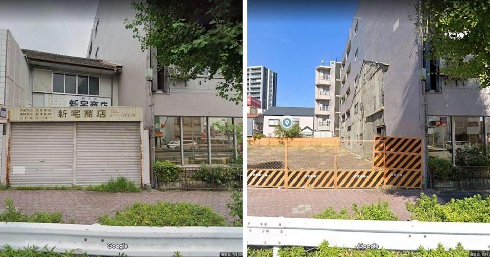 The Japanese photographer discovered via Google street view what the area looked like in 2019 compared to now. (Photos courtesy of @JIYUKENKYU_jp/Twitter)