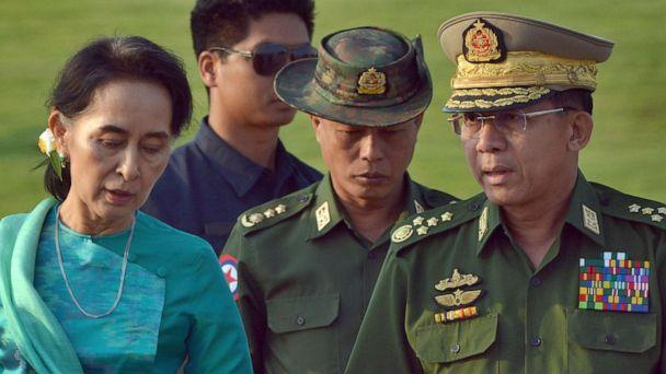 PHOTO: FILE - In this May 6, 2016, file photo, Aung San Suu Kyi, left, Myanmar's foreign minister, walks with senior General Min Aung Hlaing, right, Myanmar military's commander-in-chief, in Naypyitaw, Myanmar.  (Aung Shine Oo/AP)
