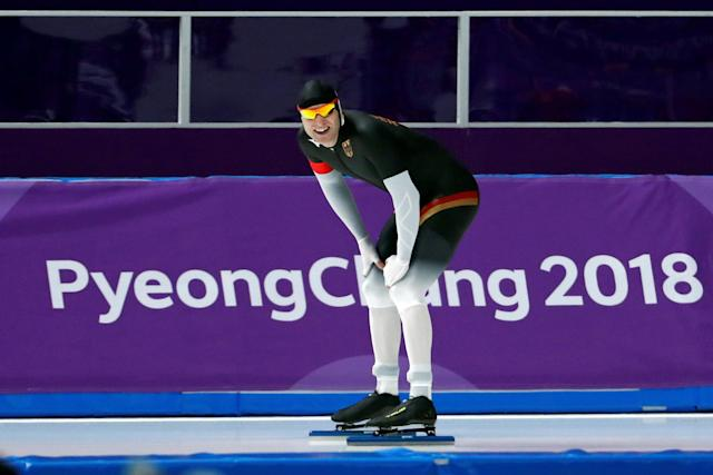 Speed Skating - Pyeongchang 2018 Winter Olympics - Men's 1000m competition finals - Gangneung Oval - Gangneung, South Korea - February 23, 2018 - Nico Ihle of Germany reacts after his race. REUTERS/Damir Sagolj TPX IMAGES OF THE DAY
