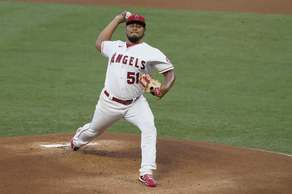 Los Angeles Angels starting pitcher Jaime Barria throws during the first inning of the team's baseball game against the Texas Rangers on Friday, Sept. 18, 2020, in Anaheim, Calif. (AP Photo/Ashley Landis)