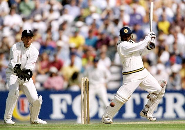29  Aug 1998:  Aravinda de Silva of Sri Lanka in action during the test match against England at the Oval in London, England. Sri Lanka won the game by 10 wickets.  \ Mandatory Credit: Adrian Murrell /Allsport