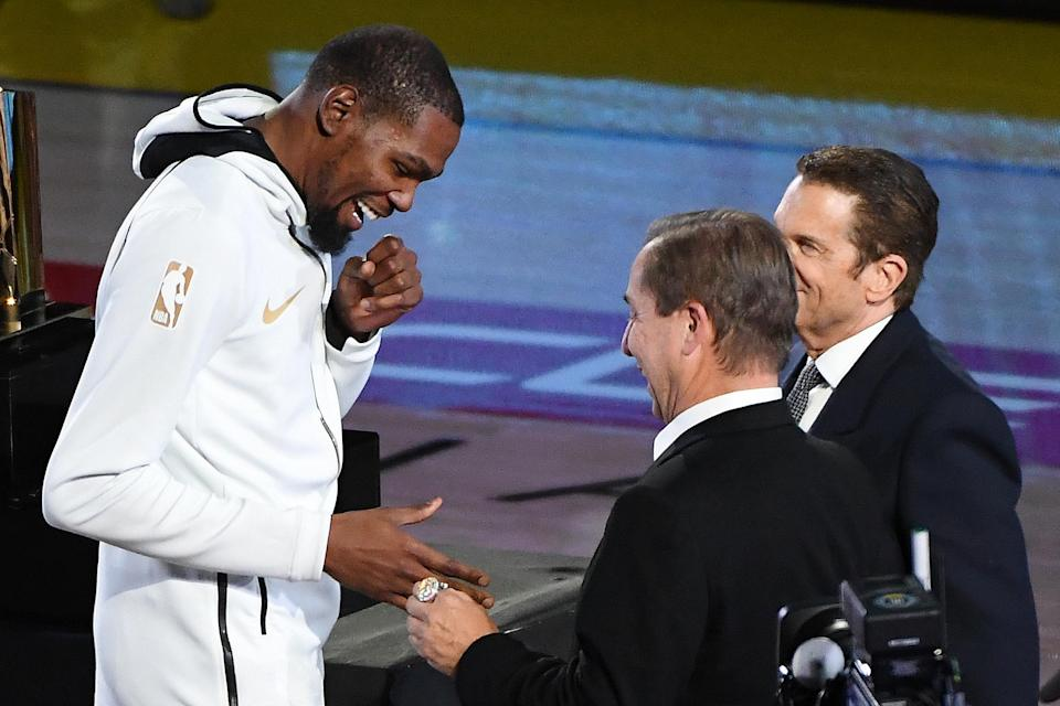Kevin Durant was the last Warriors player to receive his championship ring Tuesday night. (Getty)