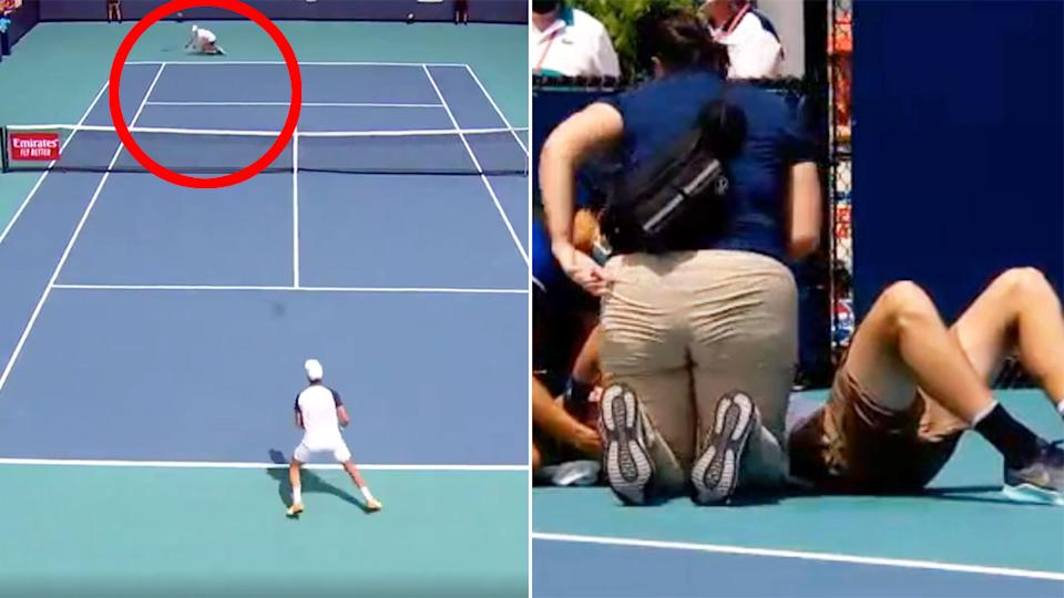 Seen here, Jack Draper is attended to by medical staff after collapsing at the Miami Open.