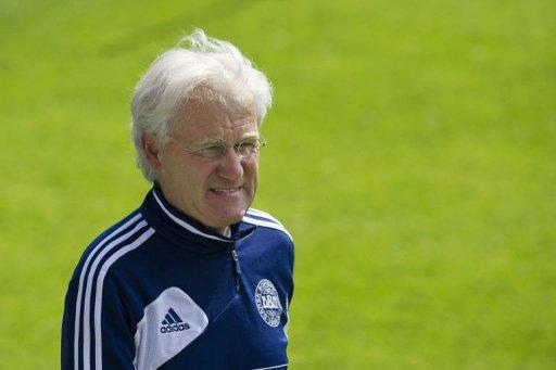 Danish headcoach Morten Olsen takes part in a training session