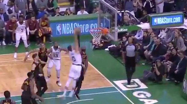 Jayson Tatum produced one of the best moments of the NBA Playoffs on Sunday as he dribbled to his left and threw down a ferocious dunk over LeBron James.