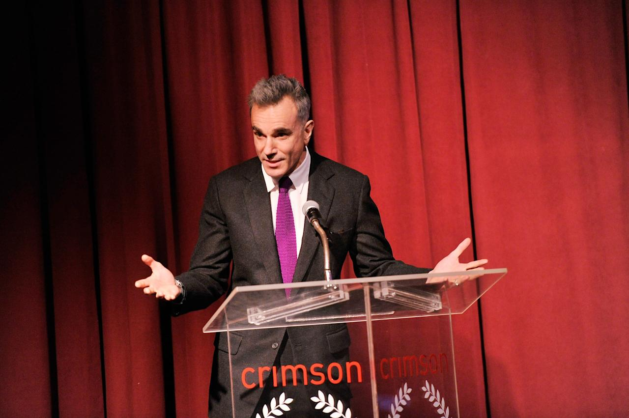NEW YORK, NY - JANUARY 07:  Actor Daniel Day-Lewis speaks onstage at the 2012 New York Film Critics Circle Awards at Crimson on January 7, 2013 in New York City.  (Photo by Stephen Lovekin/Getty Images)