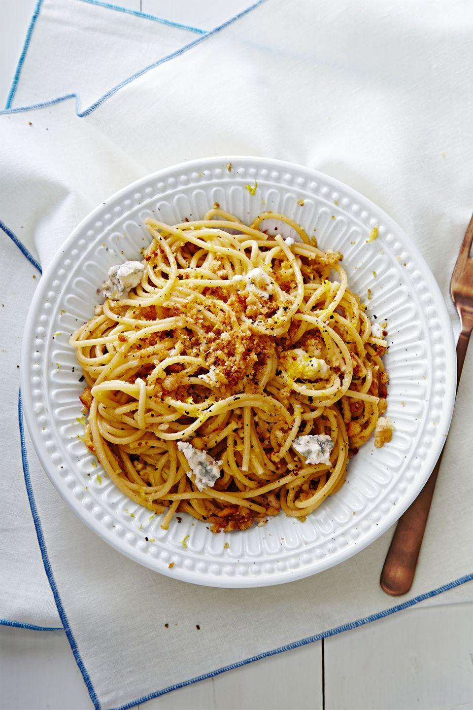 """<p>Looking for a last-minute romantic dinner idea? This dish has only seven ingredients and is ready in 10 minutes. You're welcome.</p><p><a href=""""https://www.goodhousekeeping.com/food-recipes/easy/a34559/blue-cheese-lemon-pasta/"""" rel=""""nofollow noopener"""" target=""""_blank"""" data-ylk=""""slk:Get the recipe for Blue Cheese Lemon Pasta »"""" class=""""link rapid-noclick-resp""""><em>Get the recipe for Blue Cheese Lemon Pasta »</em></a></p>"""