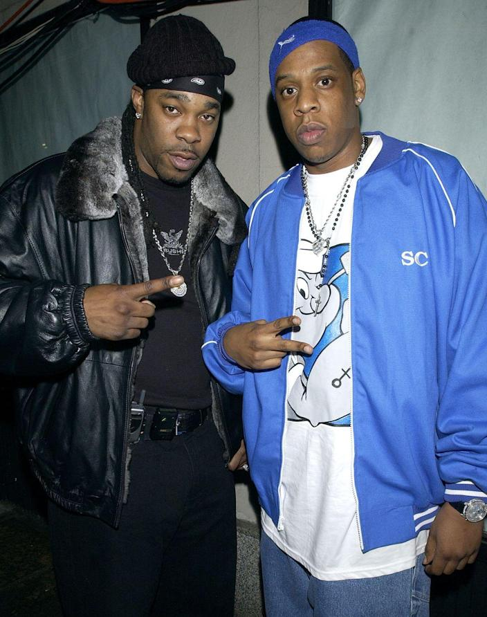"""<p>Believe it or not, the rap world is pretty small—many of your favorite lyricists, like Busta Rhymes and Jay-Z, have a long, long history that connects them. The Brooklyn rappers (and the late great Biggie Smalls!) attended George Westinghouse Career and Technical Education High School, where they spent a great deal of their time battling it out to see who was the best.</p><p>In 2010, Busta Rhymes <a href=""""http://www.mtv.com/news/1649575/busta-rhymes-recalls-battling-jay-z-in-high-school/"""" rel=""""nofollow noopener"""" target=""""_blank"""" data-ylk=""""slk:spoke"""" class=""""link rapid-noclick-resp"""">spoke</a> to <em>MTV News</em>' Sway about losing his first rap battle with Jay-Z, claiming that even then, he knew that Shawn Carter was nothing to play about. """"That was probably the fist time that I lost a battle that mattered,"""" he said. """"[Jay-Z] always exemplified greatness as an MC. He was a scientist with it.""""</p>"""