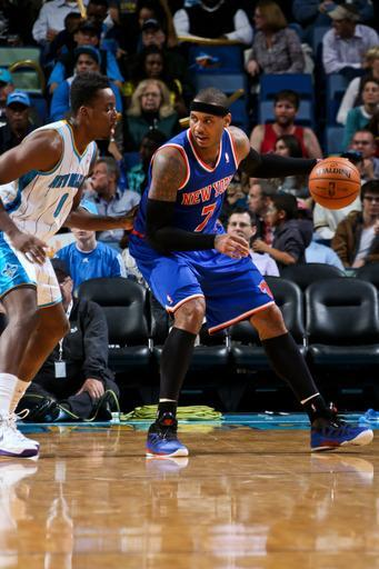 NEW ORLEANS, LA - NOVEMBER 20: Carmelo Anthony #7 of the New York Knicks posts-up against Al-Farouq Aminu #0 of the New Orleans Hornets on November 20, 2012 at the New Orleans Arena in New Orleans, Louisiana. (Photo by Layne Murdoch/NBAE via Getty Images)