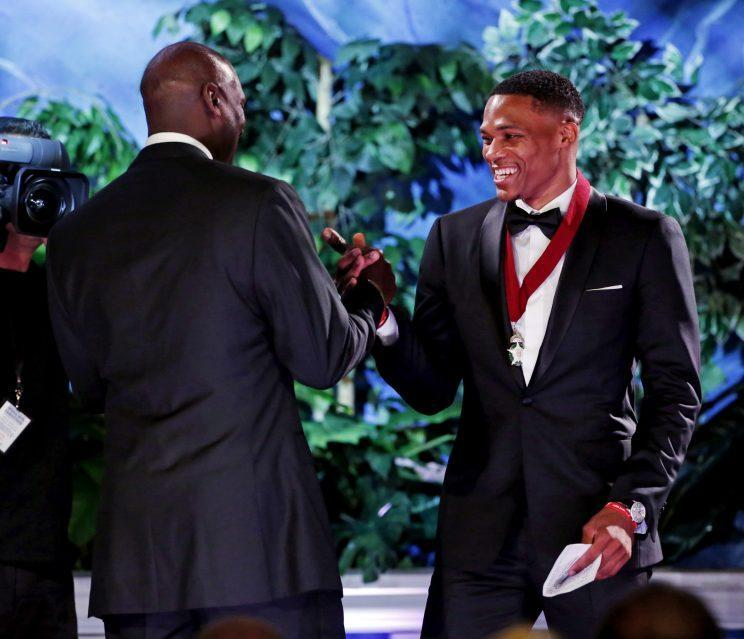 Michael Jordan introduced Russell Westbrook at his Oklahoma Hall of Fame induction. (AP)