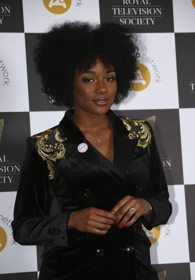 Rachel Adedeji poses for photographers upon arrival for a the Royal Television Society Awards in central London, Tuesday, Mar 19, 2019. (Photo by Joel C Ryan/Invision/AP)