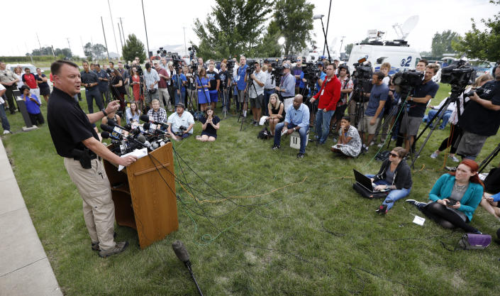 Special Agent Rick Rahn of the Iowa Department of Criminal Investigation speaking about the investigation of missing University of Iowa student Mollie Tibbetts, Aug. 21, 2018, in Montezuma, Iowa. (Photo: Charlie Neibergall/AP)