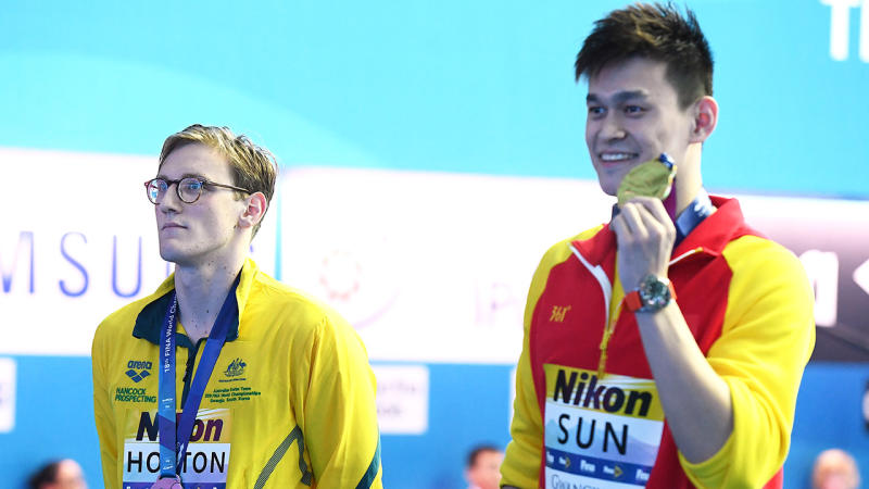 Mack Horton (pictured left) protests against Sun Yang (pictured right) at the Gwangju 2019 FINA World Championships. (Photo by Quinn Rooney/Getty Images)