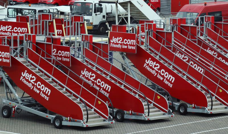 FILE PHOTO: Jet2.com aircraft boarding stairs are stored at Stansted airport in Stansted, Britain