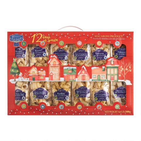 "<h3>Vecchio Pastificio Di Gragnano 12 Days Of Pasta Gift Box<br></h3><br>Whatever it is, say it with pasta. In addition to getting a good laugh, experimenting with twelve unique shapes means your giftee will never get bored with home cooking.<br><br><strong>World Market</strong> Vecchio Pastificio di Gragnano 12 Days of Pasta Gift Box, $, available at <a href=""https://go.skimresources.com/?id=30283X879131&url=https%3A%2F%2Fwww.worldmarket.com%2Fproduct%2Fvecchio%2Bpastificio%2Bdi%2Bgragnano%2B12%2Bdays%2Bof%2Bpasta%2Bgift%2Bbox.do%3Fsortby%3DourPicks"" rel=""nofollow noopener"" target=""_blank"" data-ylk=""slk:World Market"" class=""link rapid-noclick-resp"">World Market</a>"