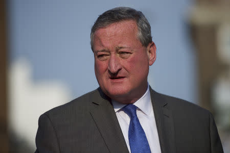 FILE PHOTO - Philadelphia mayoral candidate Jim Kenney departs after greeting supporters outside a senior center on primary election day in Philadelphia, Pennsylvania on May 19, 2015.  REUTERS/Mark Makela