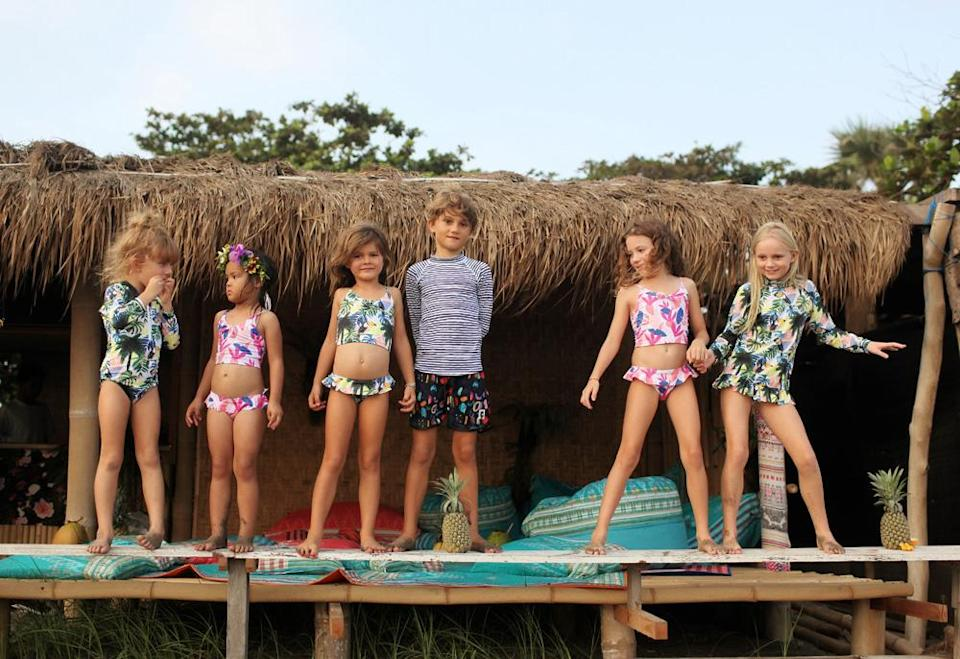"""<p>Adorable and sustainable swimwear isn't just for adults. Cosmo Crew is an ethical brand that gives conscious choices to progressive parents.<br>The durable fabrics and unique prints give kids style that reflects their personality while giving back to the envorinment.<br></p><p>Made using recycled plastics, the fabric also offers UPF 50+ sun protection. Not bad for something made from rubbish. <br>Source: <a rel=""""nofollow noopener"""" href=""""https://www.cosmocrewkids.com/"""" target=""""_blank"""" data-ylk=""""slk:Cosmo Crew"""" class=""""link rapid-noclick-resp"""">Cosmo Crew</a> </p>"""