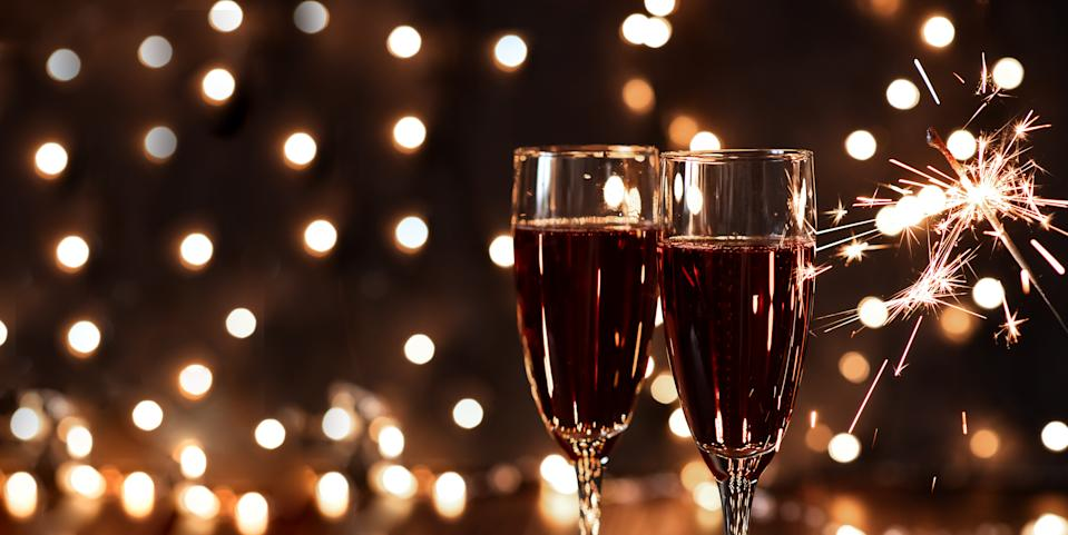 New years eve celebration background with champagne.