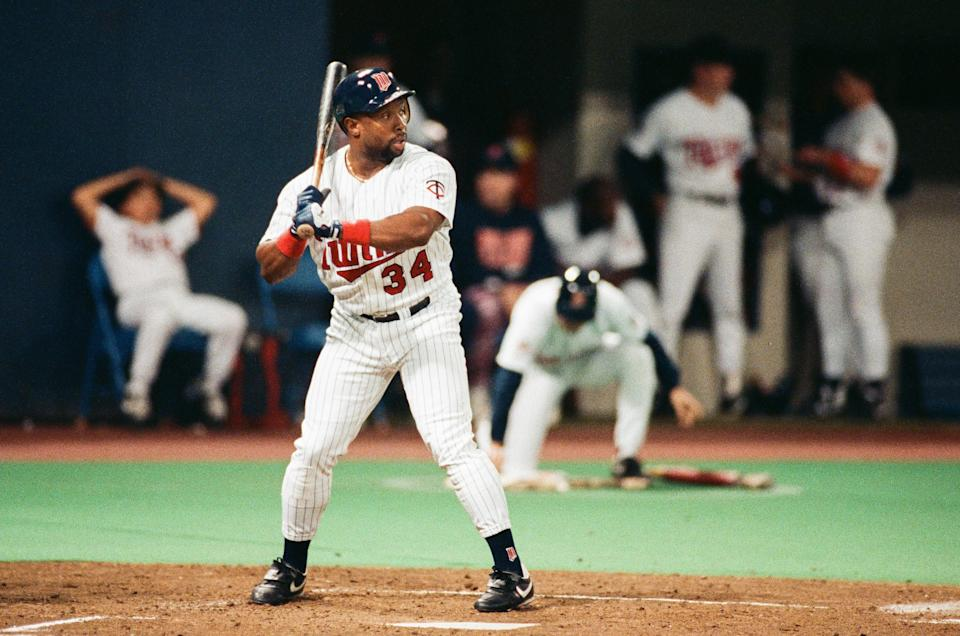 MINNEAPOLIS, MN - 1991:  Kirby Puckett of the Minnesota Twins bats during a 1991 World Series game against the Atlanta Braves at the Hubert H. Humphrey Metrodome in Minneapolis, Minnesota. (Photo by Sporting News via Getty Images via Getty Images)