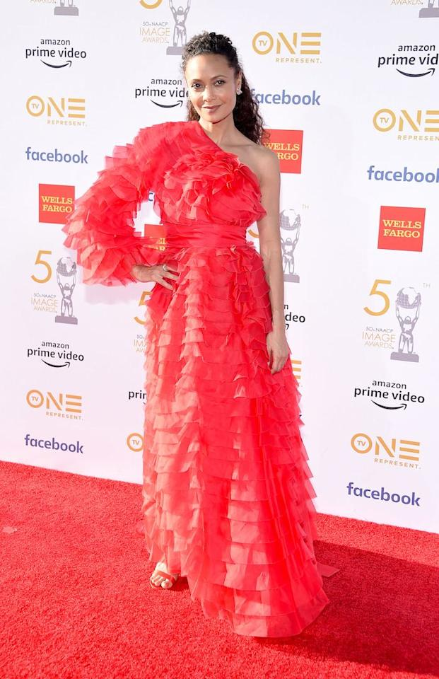 <p>The actress chose hot red Valentino ruffles for the prestigious red carpet event. <em>[Photo: Getty]</em> </p>