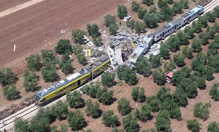 Two trains collided on a single track between Ruvo and Corato, in the southern Italian region of Puglia (AFP Photo/)
